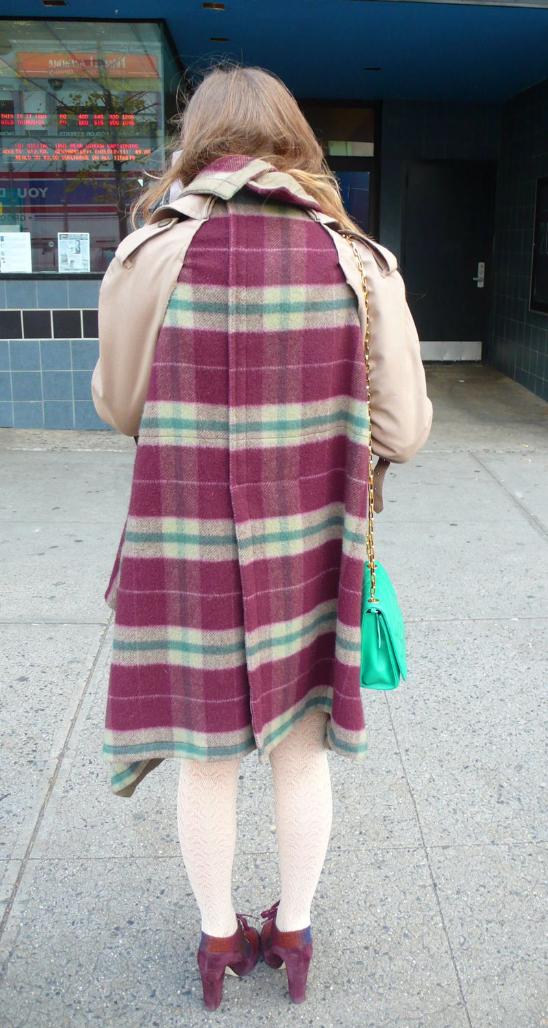 Comme plaid trench back