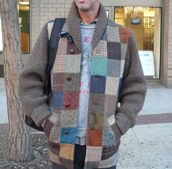 Knitting Pattern Patchwork Cardigan : Hand Knit Patchwork Tweed Cardigan IF YOURE NOT INTO TWEED, DONT OPEN, IF YOU...