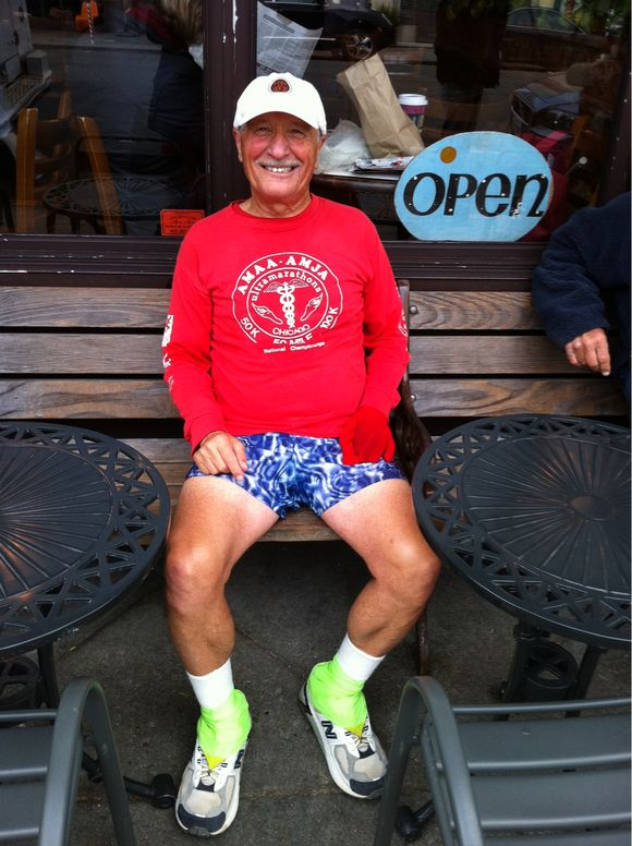 70 & Running Marathons in TyeDye Shorts