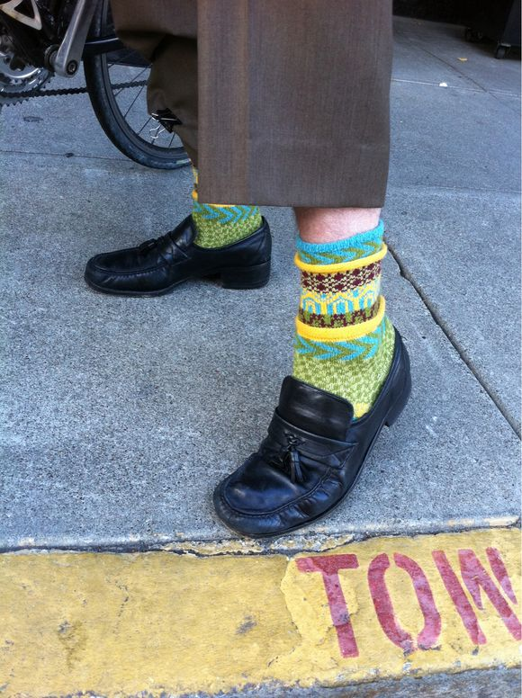 Commuter with fun socks