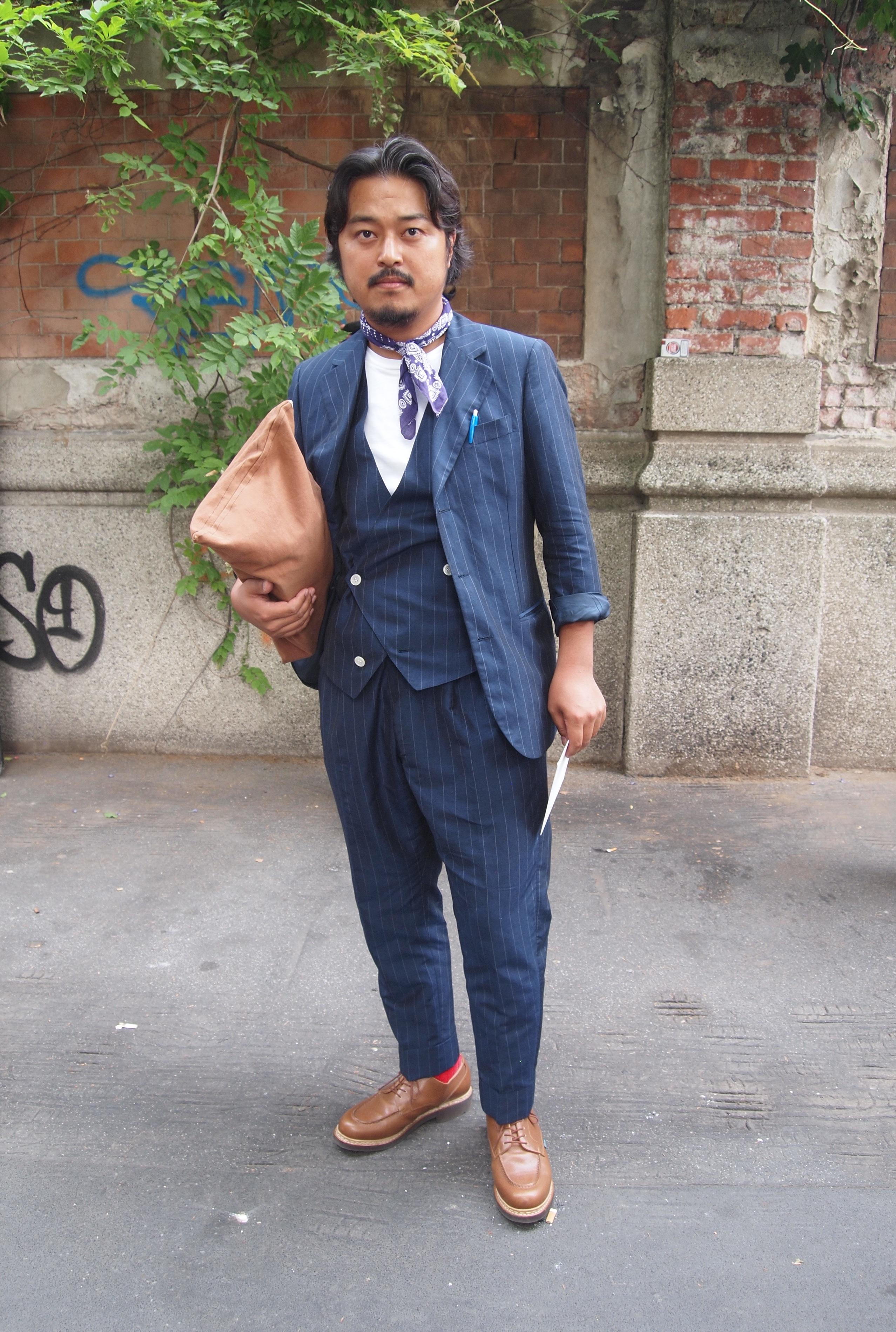 Shoji ~ Double Breasted Vest Inna Chalk Striped Cotton 3pc. Suit ...