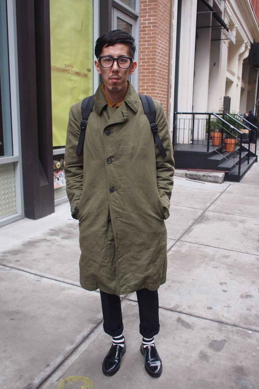 Amazing Olive Drab Trench Coat & Vintage Collared Sweater - MISTER